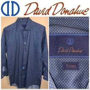16.5-32/33 David Donahue Blue-White Patterned LS